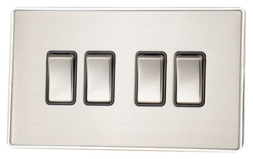 G&H LSS304 Screwless Brushed Steel 4 Gang 1 or 2 Way Rocker Light Switch